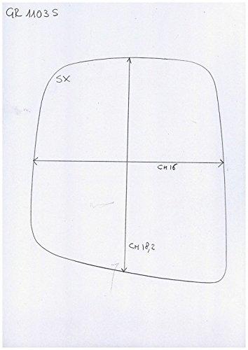 Cromato Curvo Specchio Retrovisore specchietto esterno Destro Solo Vetro con Biadesivo