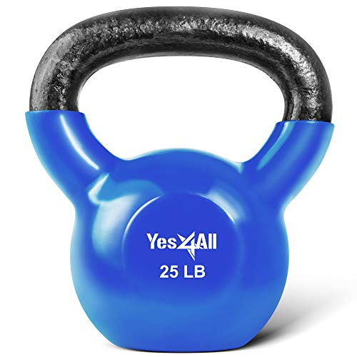 Yes4All Vinyl Coated Kettlebell Weights Set - Great for Full Body Workout and Strength Training - Vinyl Kettlebell 25 lbs