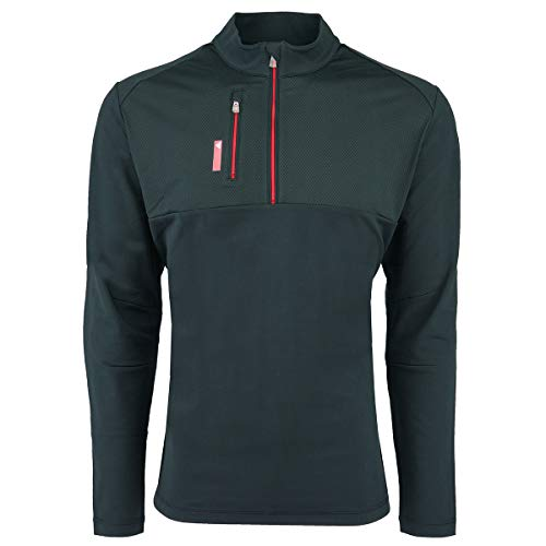 (adidas A195 Mens Pure Motion 1 By 4-Zip with Textured Inserts - Black & Bold Red44; Small)
