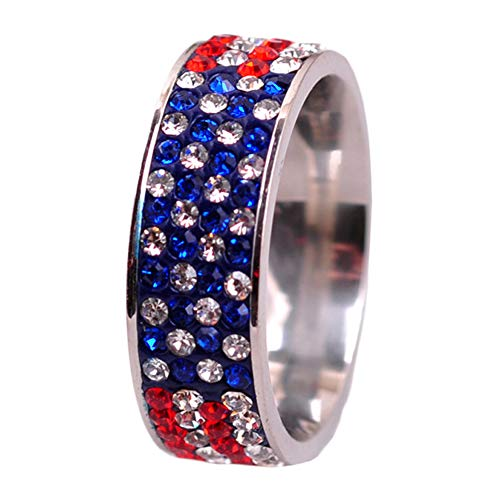 SUNDAY ROSE Stainless Steel Ring American Flag Cubic Zirconia Eternity Band - Size 7