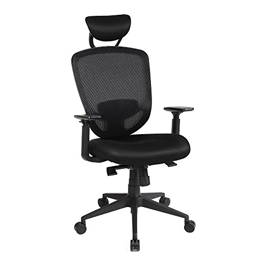 SONGMICS Office Chair with Ergonomic High Back Support, Swivel Mesh Chair with Adjustable Headrest Black UOBN88BK by SONGMICS