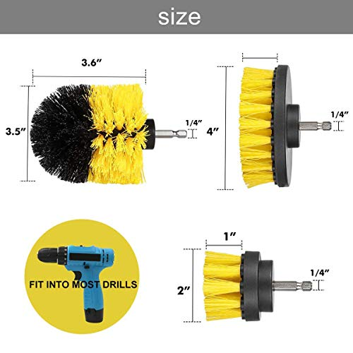 Drill Brush Attachment Kits, 3 Pieces Cleaning Power Scrubber Brush Heads for Cordless/Corded Drills, All Purpose Bathroom Surface, Grout, Tub, Shower, Kitchen, Drill Is Not Included (Medium-Yellow) by HENGQIANG (Image #4)