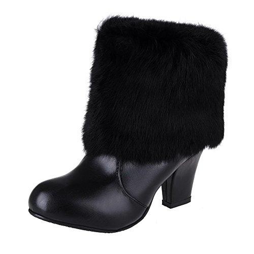 AgooLar Damen Blend-Materialien Ziehen auf Rund Zehe Hoher Absatz Niedrig-Spitze Stiefel Schwarz