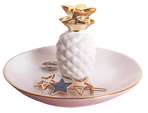 (Luxury Porcelain Pineapple Ring Holder, Ananas Ceramic Jewelry Tray, Bracelets Plate, Dessert Dish - Perfect for Holding Small Jewelries, Rings, Necklaces, Earrings, Bracelets, Trinket, White)