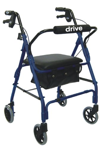 Drive Medical Lever Brake 4 Wheel Aluminum Rollator with Various Seating Options, Blue ()