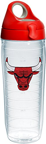 Tervis 1231046 NBA Chicago Bulls Primary Logo Tumbler with Emblem and Red with Gray Lid 24oz Water Bottle, Clear by Tervis