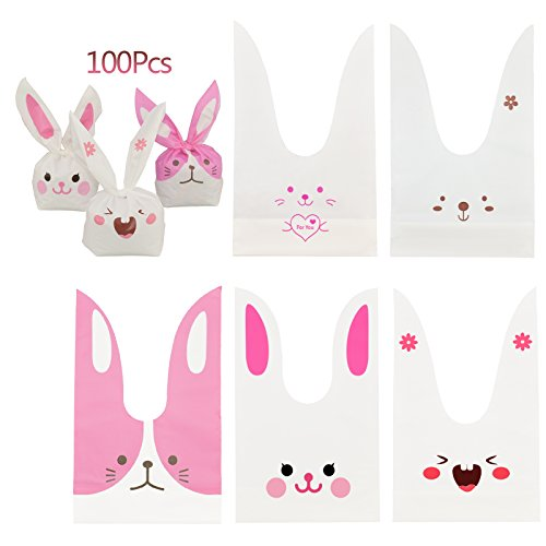 Candy Bags,KAKOO 100 Pcs Bunny Shape Treat Bags Cookie Bags With 100 Pcs Gold Twist Ties for Party Favors Supplies