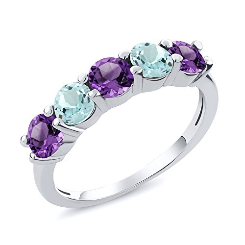 Sky Blue Aquamarine and Purple Amethyst 925 Sterling Silver Wedding Band Gemstone Ring (0.96 cttw, Available in size 5, 6, 7, 8, 9) ()