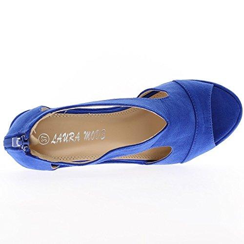 Sandalias de cuña mujer naranja tacón 8 cm