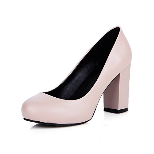 No Casual Loafers Nude Platform AdeeSu Closure Womens Round SDC04000 Toe Pleather Shoes F8wwtIq