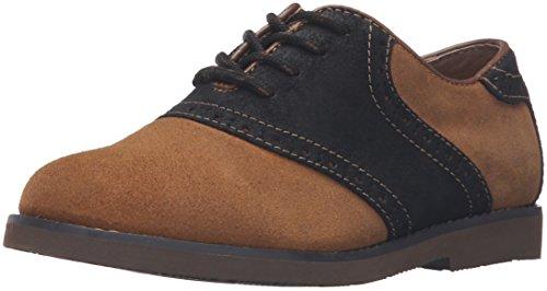 Florsheim Kids Kennett JR II Flat (Little Kid/Big Kid), Cognac/Black/Dark Brown Sole, 13 M US Little (Saddle Shoes Boys)