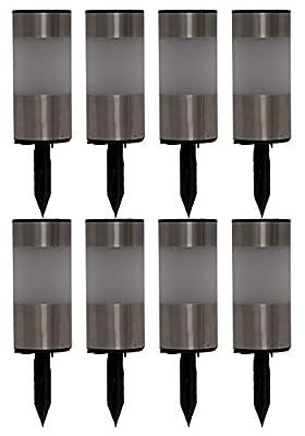 Tricod L2207S Short Stainless Steel Tube Solar Light, 8-Pack