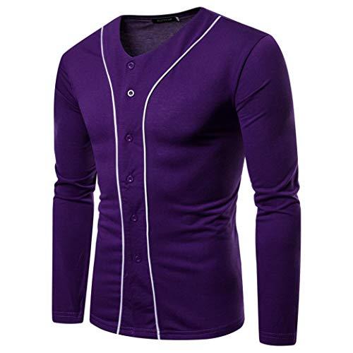 grande T a Autunno in maniche a Abbigliamento Chic Shirt Top T in felpa shirt Slim Top colore Sports Casual Viola shirt lunghe Adeshop puro V Scollo Fashion t Uomo qOqpa