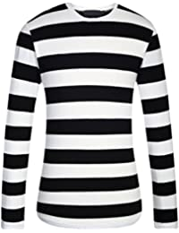 Men's Cotton Crew Neck Casual Long Sleeves Stripe T-Shirt