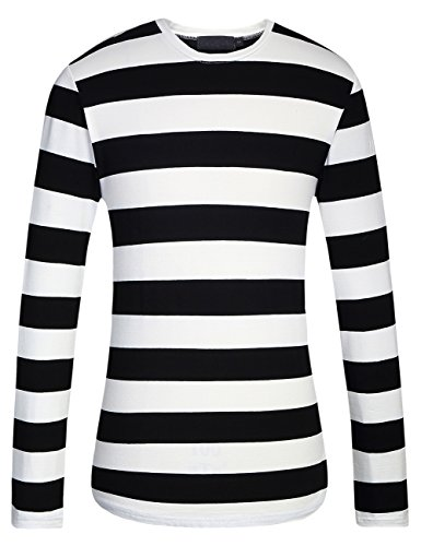 SSLR Men's Cotton Round Neck Casual Long Sleeves Stripe T-Shirt (X-Large, Black White)