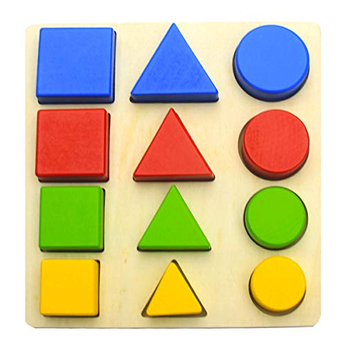 Wooden Shape Puzzles for Toddlers, Shape Color Recognition Puzzle Stacker, Preschool Educational Learning Puzzle Toys…