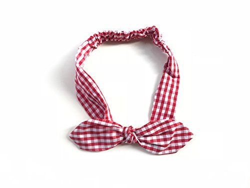 (Classic Gingham Plaid Checkered (Red and White) Women Elastic Headband Head Wrap Bow Rounded Rabbit Ears Bandana)