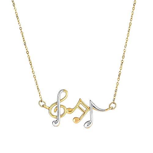 MCS Jewelry 14 Karat Yellow and White Gold Musical Notes Pendant Necklace (Yellow Gold Musical Notes)