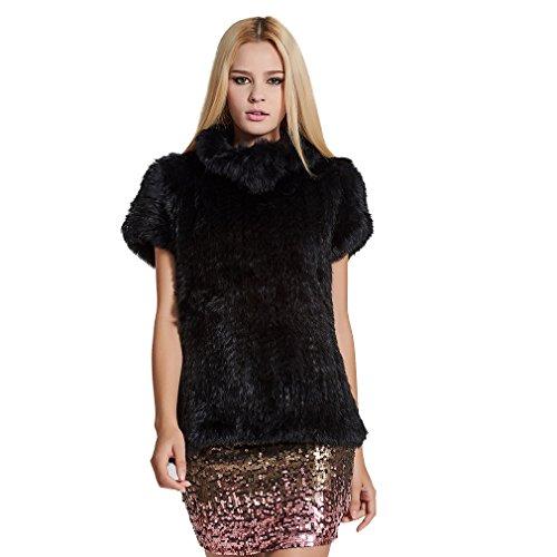 Female Mink Fur Coat - Fur Story Women's Knitted Real Rabbit Fur Vest Pullover Solid Female Fashion Warm Coat (Black)