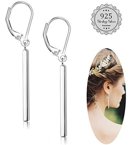 Milacolato 925 Sterling Silver Vertical Bar Dangle Earrings for Women Girls Drop Earrings