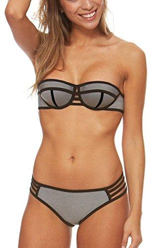 Gigileer Damen Helle Farbe Bademode Neopren Badeanzug Neoprene Push Up Bikini Set (L(DE 36-38), Silbergrau)
