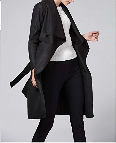 ... OUMIZHI Damen Mantel Trenchcoat mit Gürtel Onesize Lang und Kurz Schwarz  is2FvN9kUr a00aa82f13