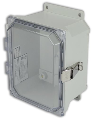 Hinged Vent Panel (Allied Moulded AMU864CCLF Ultraline Series Fiberglass JIC Size Junction Box, Snap Latch with Mounting Flanges and Hinged Clear Polycarbonate Cover)