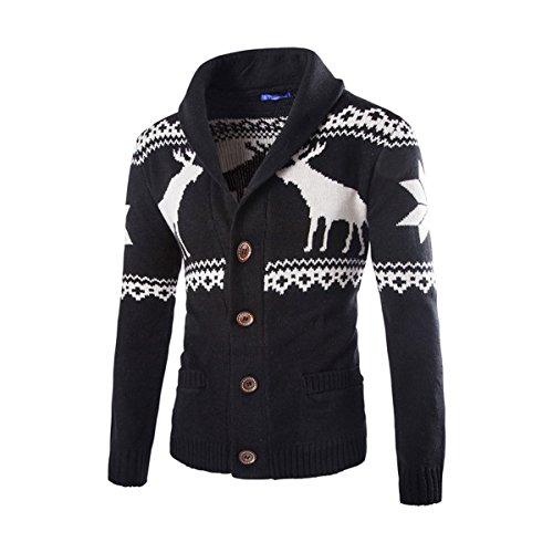 Autumn and Winter New Men 's Leisure Printing Jacket(Black) - 5