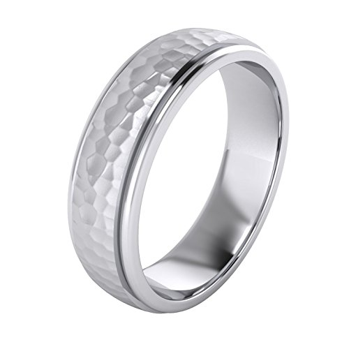 - Heavy Solid Sterling Silver 6mm Hammered Unisex Wedding Band Comfort Fit Ring Raised Center Polished Sides (9)