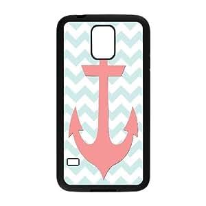 Jumphigh Coral And Light Blue Anchor Nautical Free Printable Samsung Galaxy S5 Cases, Luxury Samsung Galaxy S5 Case Cute Girl {Black}