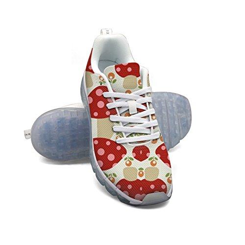 Lyserød Røde Prikker Champignon Kvinders Åndbar Mesh Luftpude Udendørs Sport Løbesko Letvægts Afslappet Sneakers v2Z5WB