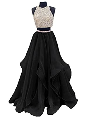 Dressytailor 2017 Two Piece Floor Length Organza Prom Dress Beaded Evening Gown