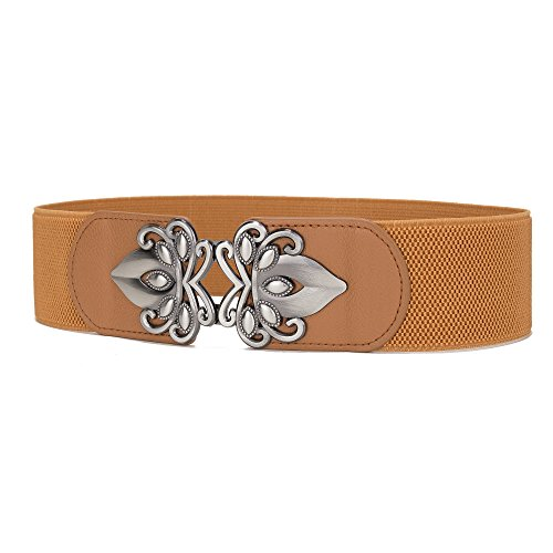 Viishow Women Metal Fashion Wide Leather Belt Elastic Buckle belt solid color