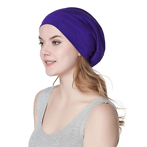 - Alnorm Trendy Oversized Stretchy Slouchy Beanie Hat Soft Warm Cap Purple