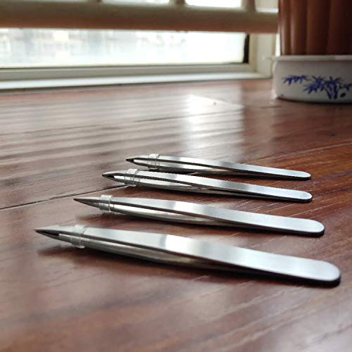 HXL Tweezers Set 4-Piece Professional Stainless Steel Tweezers- Best Precision Tweezers for Facial & Ingrown Hairs, Splinter & Hair Daily Beauty Tool No Chemical Free (Silver)