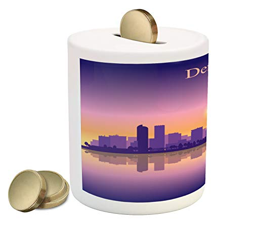 Ambesonne Denver Piggy Bank, Dramatic Colorado Sunset Sky Scenery from South Platte River USA Panorama, Printed Ceramic Coin Bank Money Box for Cash Saving, Purple Pink Apricot (Denver Bars Patio)