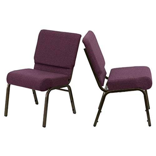 - Contemporary Design Commercial Grade Banquet Chair Durable Fabric Upholster Sturdy 16 Gauge Steel Frame Thick Waterfall Edge Seat Home Office Furniture - Set of 2 Plum Fabric/Gold Frame #2036