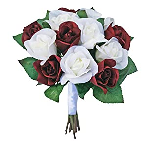 Burgundy and Ivory Silk Garden Roses - Wedding Bouquets for Bridesmaids - Bridal Bouquets for Wedding (Medium) 23