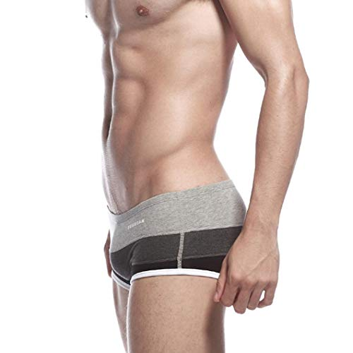 Slips À Briefs Boxer Homme Rayures Coton Hipster Sexy Respirant Caleçons Gris Aimee7 En ZYqPa