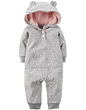 Baby Girls' Appliqué Hooded Fleece Jumpsuit (18 Months, Grey)