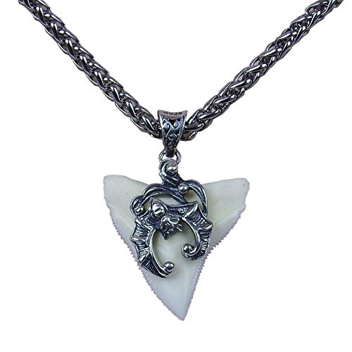 GemShark Large Shark Tooth Necklace for Men Beach Ocean Surf Jewelry Animal Tooth Designed Vintage Bat (1.0 in Bull ()