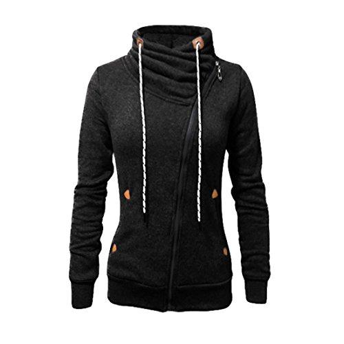 Fashion Full Zip Sweatshirt (Ezcosplay Women's Long Sleeve Side Zip Sports Sweatshirt Hoodie Outerwear)