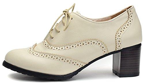 Odema Femmes Pu Cuir Oxfords Brogue Wingtip Lacets Jusquà Chunky Chaussures À Talons Hauts Robe Pompes Oxfords Beige