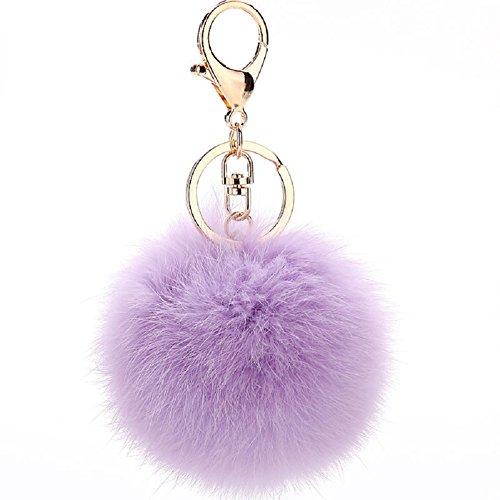 ETENOVA Pom Pom Keychain Genuine Rabbit Fur Ball Keychain Fluffy Accessories Car Bag Charm ()