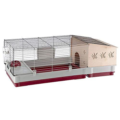 Ferplast Jaula para Conejos y Conejillos de Indias KROLIK 140 Plus, para pequeños Animales, Conejera, Casita de Madera…
