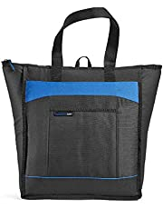 Rachael Ray 5060RR1613 ChillOut Thermal Tote, Insulated Bag for Grocery Shopping /Entertaining, Transport Hot and Cold Food, Black with Blue Trim