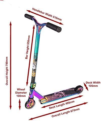 con pedana in alluminio leggera e ruote con nucleo solido Team Dogz Pro X disponibile in vari colori Monopattino acrobatico a compressione interna nascosta