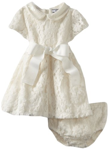 Hartstrings Baby Girls' Knit Lace Dress and Diaper Cover Set