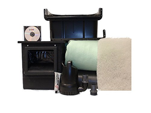 CUSTOM PRO WATER GARDEN COMPLETE POND KIT WITH WATERFALL Includes 2200 GPH Pump, Liner, Underlayment, Skimmer, Bio Filter, Instructions and More to Build 6x8 Foot Pool