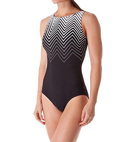 Reebok Women's Waterfitness Hu La La Border Scoop NeckSwimsuit, Black/Cobalt, - Border Cobalt